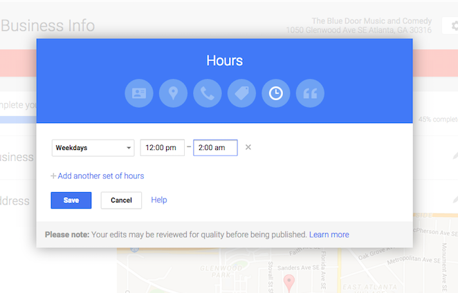 Set your business hours for Google Maps