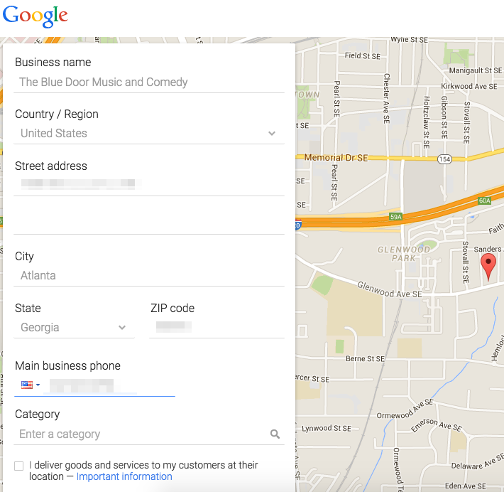 Fill out business information for Google Maps