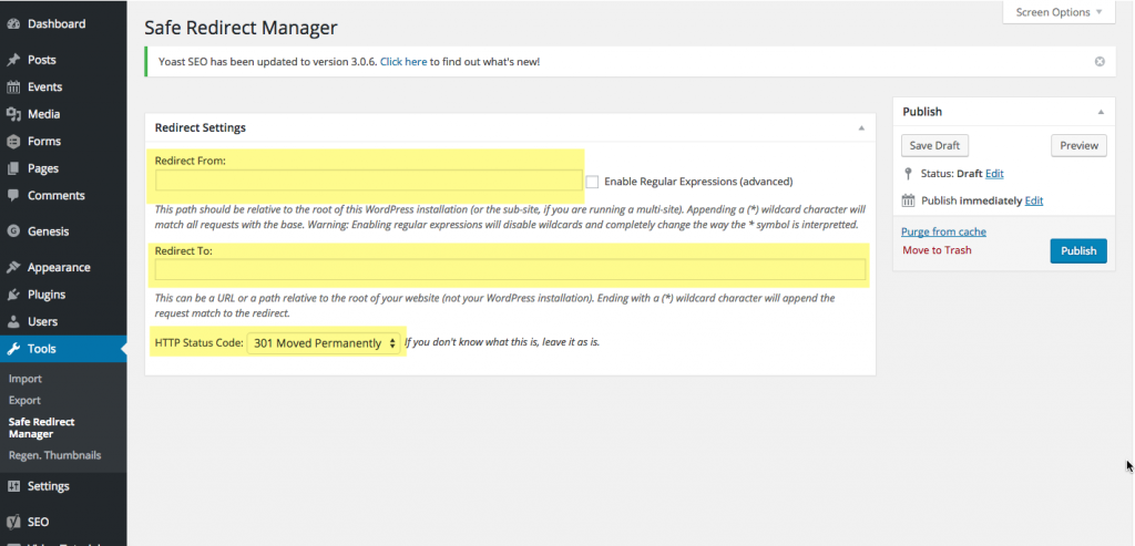 Safe Redirect Manager - Adding a redirect