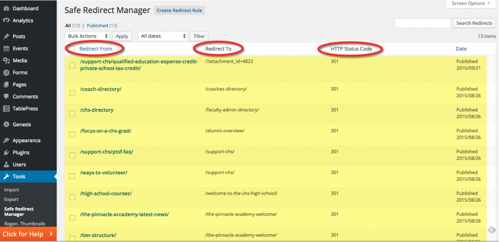 Safe Redirect Manager - Full of redirects.