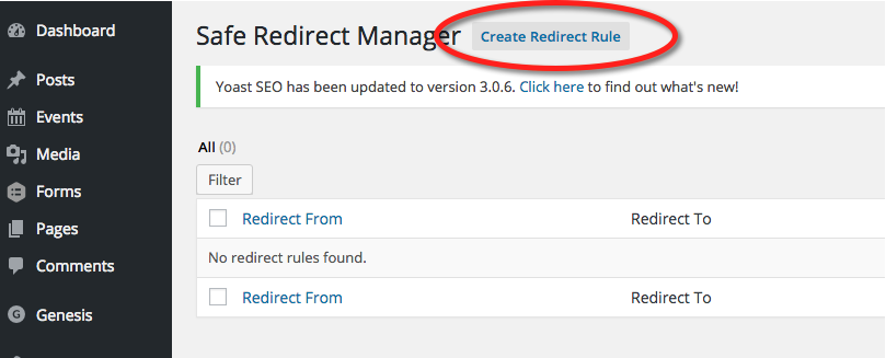 Safe Redirect Manager - Create Redirect Rule